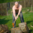 Splitting wood — Stock Photo