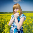 Blonde in rape field — Stock Photo #2244021