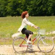 Woman with bike — Foto Stock