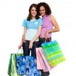 jonge vrouwen shopping, geïsoleerd op wit — Stockfoto