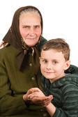 Grandmother and nephew embracing — Stock Photo