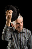 Old man saluting — Stock Photo