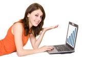 Iş kadını ile laptop — Stok fotoğraf