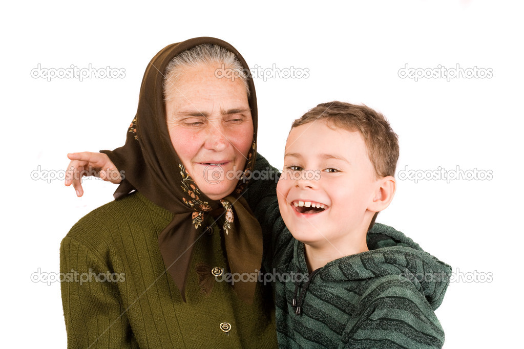 Close-up portrait of an old peasant woman isolated on white background — Stock Photo #2245170
