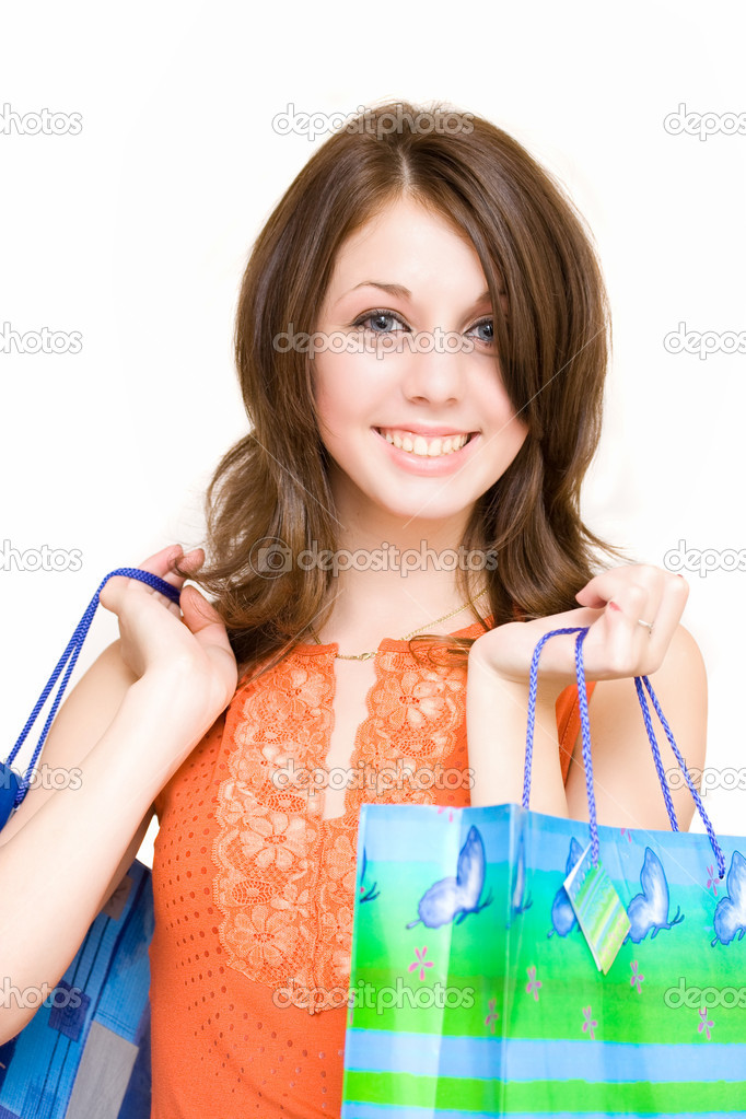 Young woman with bags shopping for Christmas — Stock Photo #2249981