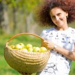 Pretty lady with a basket of apples — Stock Photo
