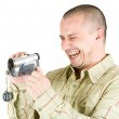 Man using camcorder — Stock Photo