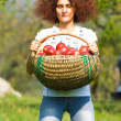 Woman with basket full of apples — Stock Photo #2250640