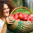 Woman with basket full of apples — Stock Photo #2250715
