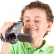 Boy using video camera — Stock Photo