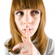 Girl making silence sign — Stock Photo #2250855