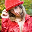 Sexy lady with red hat outdoors — Stock Photo #2251464
