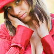 Sexy lady with red hat outdoors — Stock Photo #2251469
