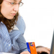 Young business woman on laptop — Stock Photo