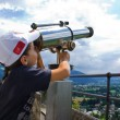 Boy with telescope — Stock Photo