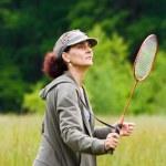 Woman playing badminton — Stock Photo #2254720