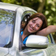 Stock Photo: Happy woman in car