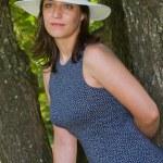 linda mulher com chapéu — Foto Stock