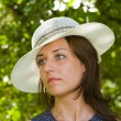 Beautiful woman with hat — Stockfoto