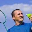 Young man playing badminton — Stock Photo #2255340