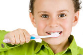 Child brushing teeth — Stok fotoğraf