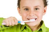 Dítě čistit zuby — Stock fotografie