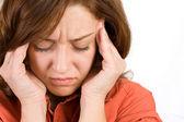 Mulher com dor de cabeça — Foto Stock