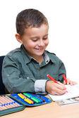 Schooljongen tekening — Stockfoto