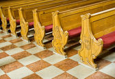 Benches in church — Stock Photo