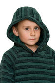Cute kid in sweater, isolated on white — Stock Photo