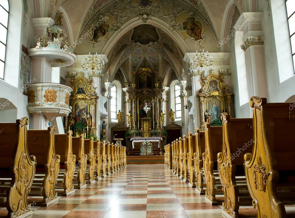 Inside of a church with rows of benches — Stock Photo #2254283