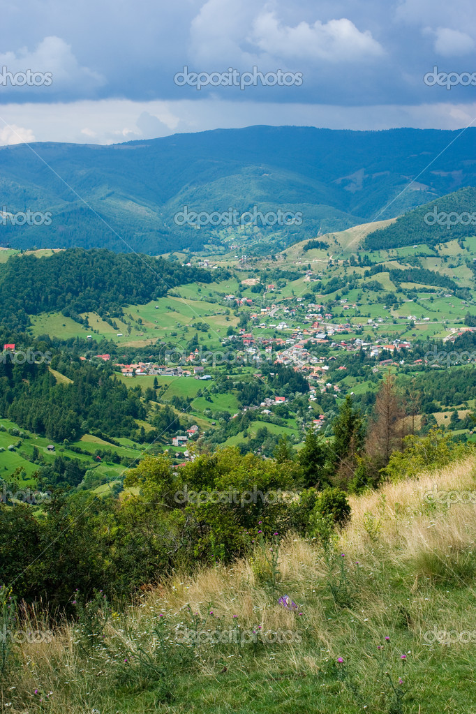 Aerial view of a small town in Romania — Stock Photo #2254464