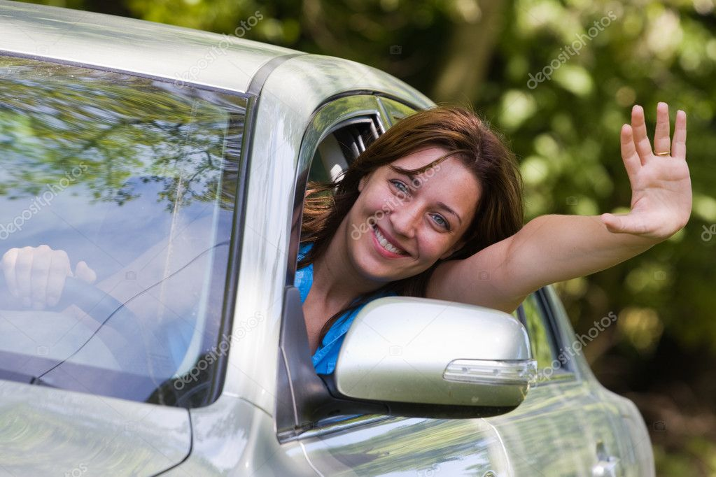 Young woman happy about her new car — Stock Photo #2254926