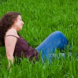 Stock fotografie: Beautiful lady in grassfield