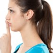 Young lady making silence sign — Stock Photo