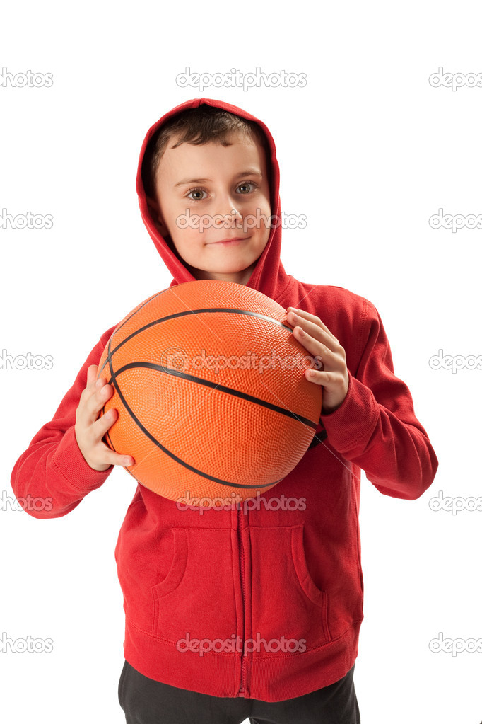 Portrait of a schoolboy with a basketball isolated on white — Stock Photo #2281265
