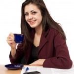 Businesswoman in coffee break — Stock Photo