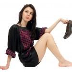 mooie brunette met hoge hakken schoenen — Stockfoto