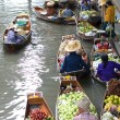 AMPAWA.Food vendor works on boats at floating market — Stock Photo #2239895