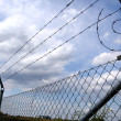 Stock Photo: Lines of barbed wire