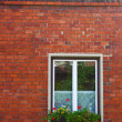 Foto Stock: Window on brick wall