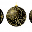 Stock Vector: Black christmas decorations