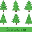 Set of vector trees. — Stock Vector