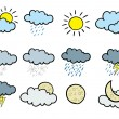 Stockvektor : Cartoon weather icons.