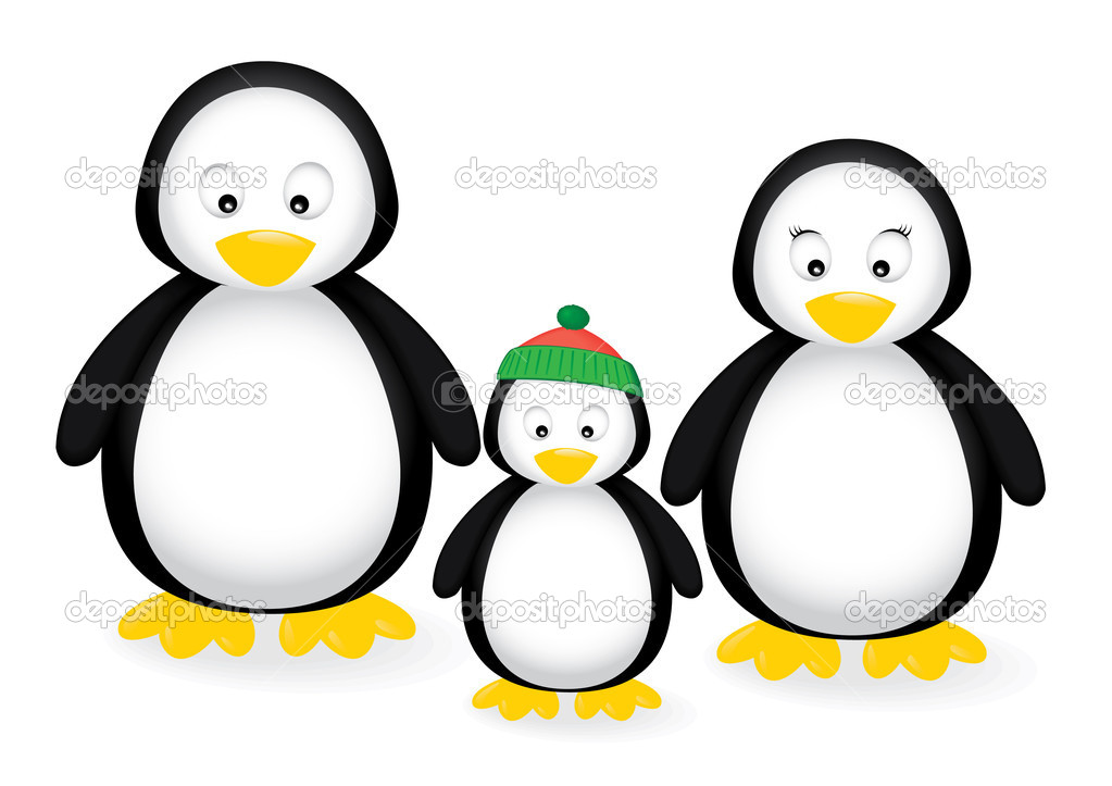 Vector illustration of a penguin family — Stock Vector #2047123