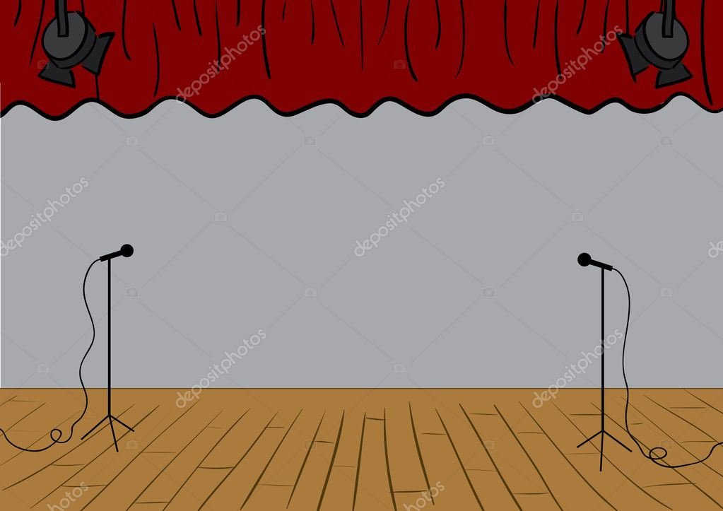Vector theater stage with curtains up and microphones. — Stock Vector #2047152