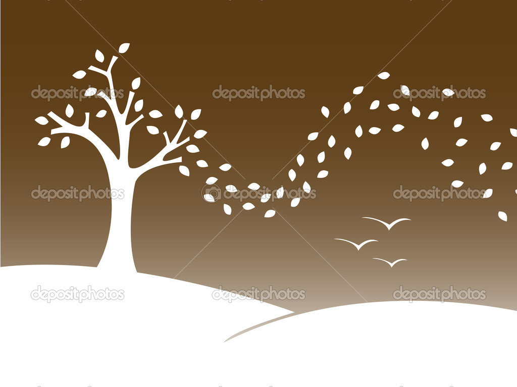Stylized vector illustration of a autumn landscape.  Stock Vector #2047170