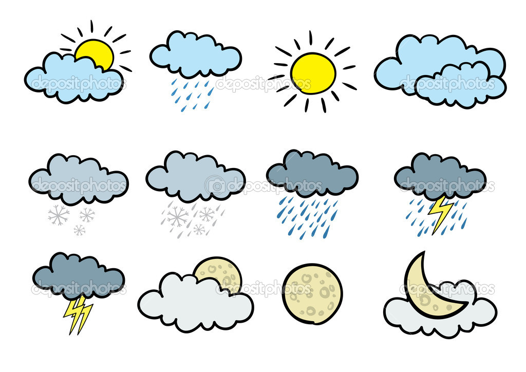Set of 12 cartoonish vector weather icons.  Stock Vector #2047202