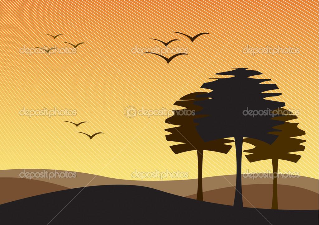 Vector landscape of a barren waste land. — Stock Vector #2047249