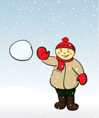 Boy throwing snowball — Stock Vector